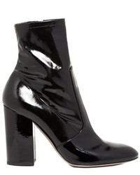 Valentino Block Heel Patent Leather Ankle Boots