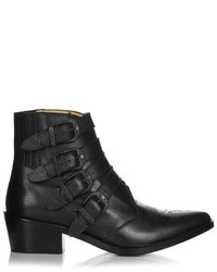 Toga Buckle Leather Ankle Boots