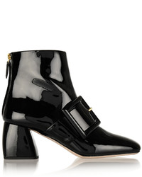 Miu Miu Buckled Patent Leather Ankle Boots Black