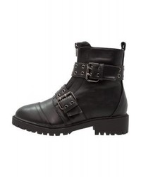 LOST INK Danni Buckle Detail Boot Cowboybiker Boots Black