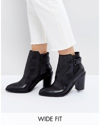 Asos Effina Wide Fit Leather Ankle Boots
