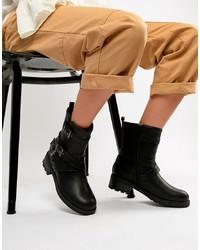 Head over Heels by Dune Head Over Heels Raakel Black Multi Biker Calf Boots