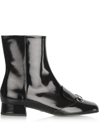 Gucci Horsebit Detailed Patent Leather Ankle Boots