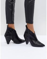 Kurt Geiger London Kurt Geiger Black Leather Western Heeled Ankle Boots