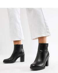 Raid Wide Fit Lorena Black Plated Heeled Ankle Boots Pu