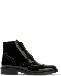 Burberry Patent Leather Ankle Boots Black