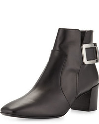 Roger Vivier Polly Leather Side Buckle Ankle Boot Black