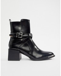 RAID Poppy Black Western Detail Ankle Boots Patent