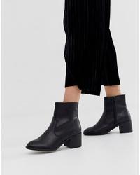 New Look Pu Block Heeed Boot In Black