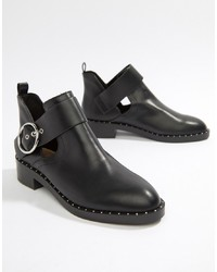 Pull&Bear Round Cutout Boot In Black