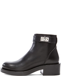 Givenchy Silvia Shark Lock Leather Ankle Boots