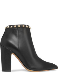 Valentino The Rockstud Leather Ankle Boots Black