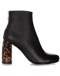 Stella McCartney Tortoiseshell Block Heel Faux Leather Ankle Boots