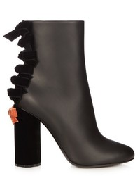 Marco De Vincenzo Velvet And Leather Ankle Boots