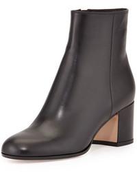 Gianvito Rossi Vitello Leather Block Heel Ankle Boot