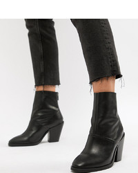 ASOS DESIGN Wide Fit Elexis Leather Ankle Sock Boots Leather