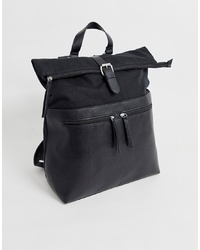 ASOS DESIGN Backpack In Black With Faux Leather Front Double Pockets