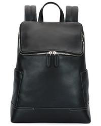 Salvatore Ferragamo Baires Pebbled Leather Backpack Black