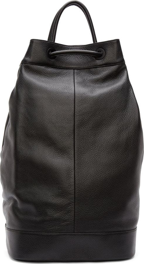 J Black Leather Drawstring Backpack