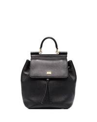 Dolce & Gabbana Black Sicily Leather Backpack