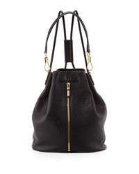 Elizabeth and James Cynnie Pebbled Leather Drawstring Backpack Black
