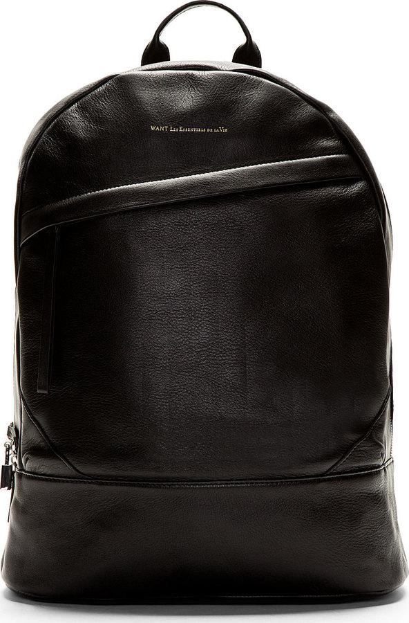 65973b746b23 ... WANT Les Essentiels De La Vie Black Leather Kastrup Backpack
