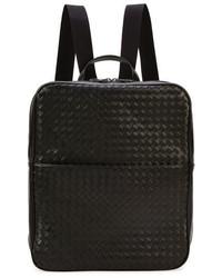 Bottega Veneta Double Compartt Woven Leather Backpack Black