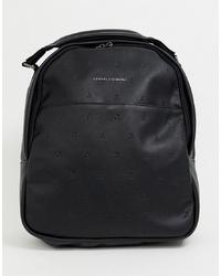 Armani Exchange Faux Leather All Over Logo Backpack In Black