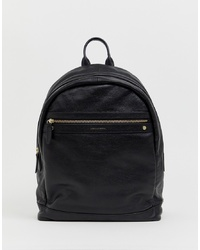 ASOS DESIGN Leather Backpack In Black Saffiano With S And Emboss