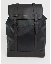 ASOS DESIGN Leather Backpack In Black With Double S