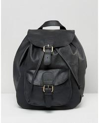 Asos Leather Front Pocket Backpack