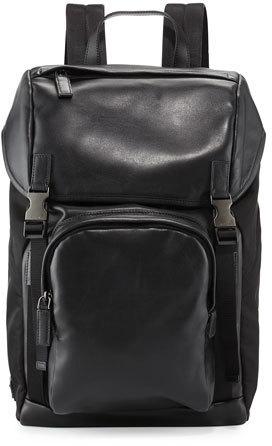 048c05f84c76 ... Prada Leather Nylon Backpack Black