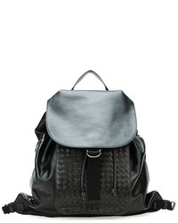 Bottega Veneta Woven Leather Backpack Black