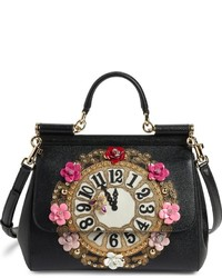Dolce & Gabbana Dolcegabbana Small Miss Sicily Floral Clock Calfskin Leather Satchel Black