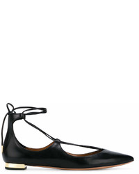 Aquazzura Black Christie Leather Ballet Flats
