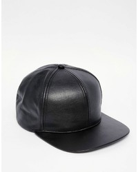 Asos Brand Snapback Cap In Black Faux Leather