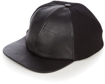 e3d0c098a26 ... Balenciaga Leather Visor Wool Blend Baseball Cap