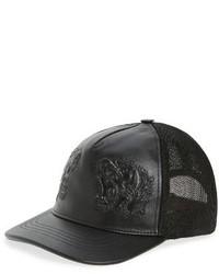 Gucci Tiger Leather Baseball Cap Black