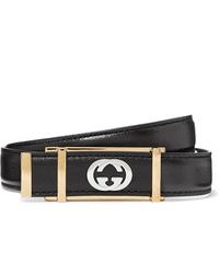 Gucci 2cm Black Textured Leather Belt