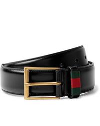 Gucci 35cm Black Webbing Trimmed Leather Belt