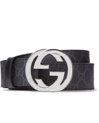 Gucci 4cm Black Monogrammed Coated Canvas Belt