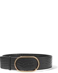 Stella McCartney Croc Effect Faux Leather Belt Black