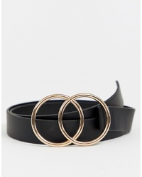 ASOS DESIGN Faux Leather Slim Belt With Double Circle In Black