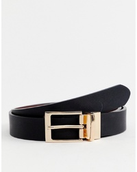 ASOS DESIGN Faux Leather Slim Reversible Belt In Black And Brown With Gold Brown