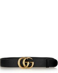 Leather belt black medium 656318