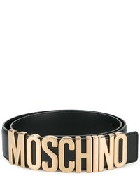 Moschino Logo Belt With Gold Tone Hardware