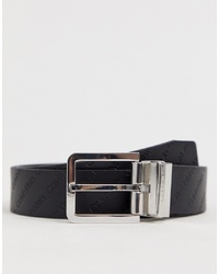 Calvin Klein Reversible Embossed Logo Belt In Black
