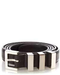 Saint Laurent Triple Loop Pebbled Leather Belt