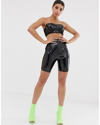 Black Leather Bike Shorts