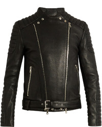 Balmain Collarless Grained Leather Biker Jacket